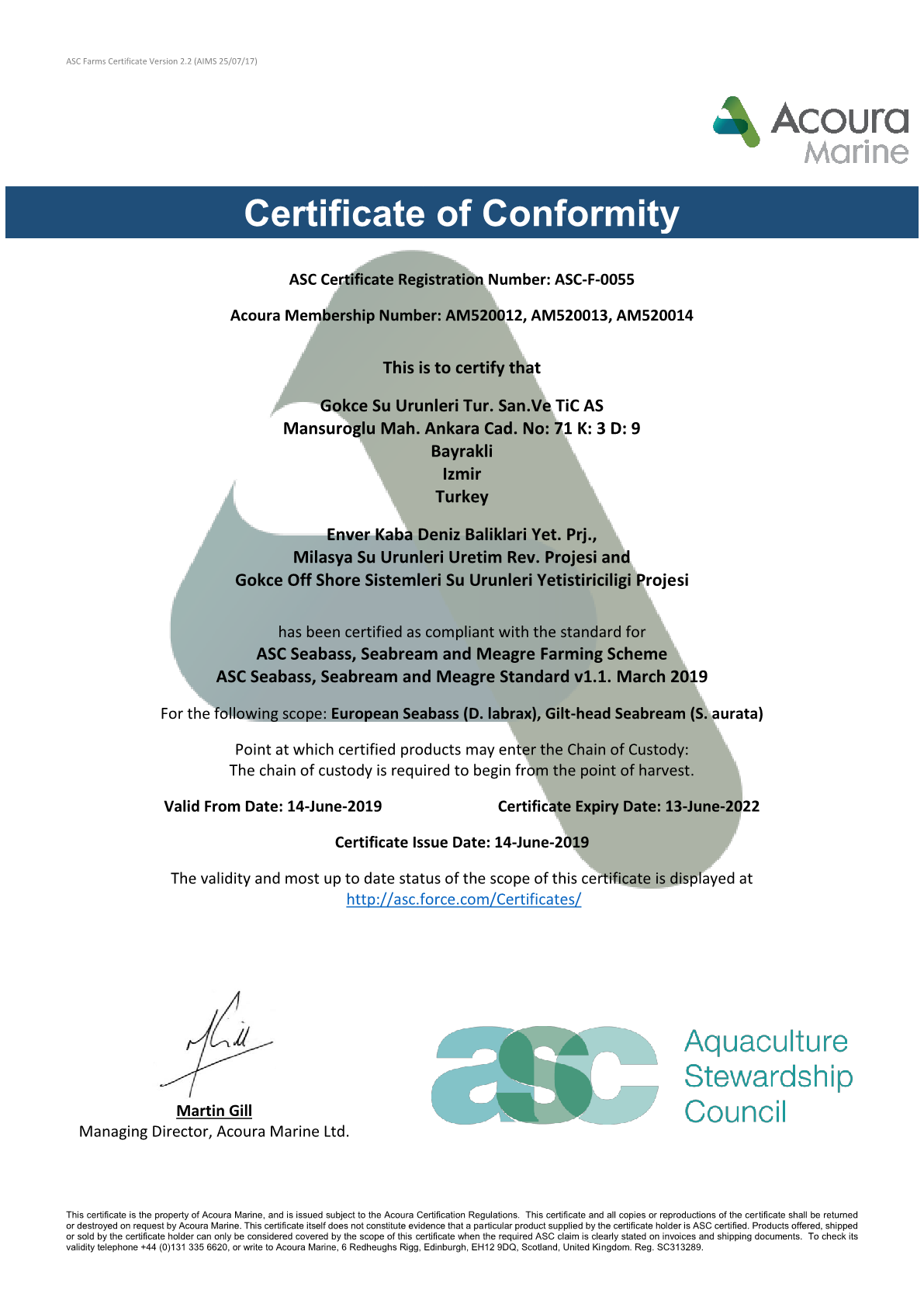 Lucky Fish Co. became one of the first to obtain ASC certificate